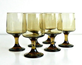 Libbey Tawny Accent Smoke Glass Goblets, Mid Century Smokey Brown Stemware, Vintage Set of 6 Glasses.