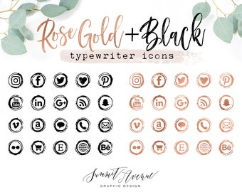 Rose Gold & Black Type Writer Keys Social Icons for your blog or website - Rosegold Vintage Typewriter Social Media Icons