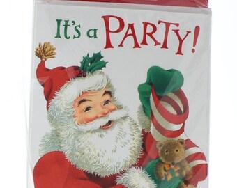 Hallmark Invitation It's a Party With Santa Set 8 & Envelope Ho Ho Hope you come