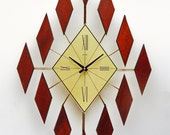 Starburst Clock of Diamonds, Mid Century Sunburst Diamond Clock, Walnut