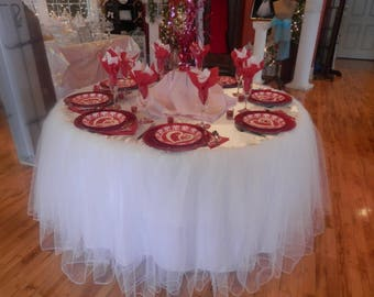 Custom Made Wedding Cake Table Tablecloth White Tulle 72 Inch Round