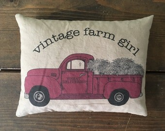vintage farm girl red truck feed sack accent pillow