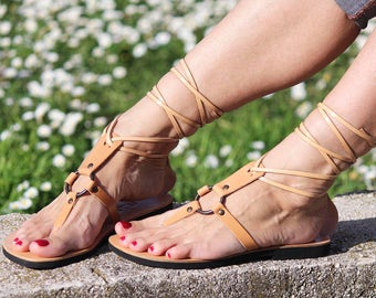 Tie Up Gladiator Sandals, Thong Leather Sandals, Hippie Unique Style with Metal Rings and Rivets Available in Colors - SAPPHIRE