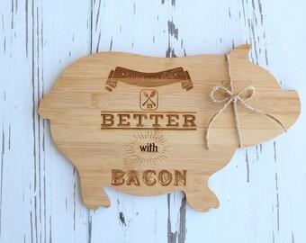 Pig Cutting Board Engraved Bamboo Cutting Board