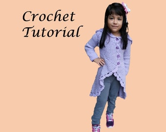 Instant Download - Circular Jacket for girls 5 - 7 years old CROCHET PATTERN
