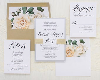 "Modern Calligraphy Script Wedding Invitations, Ivory Rose Envelope Liner, Script Fonts, Silver, Gold, Simple - ""Modern Calligraphy"" Sample"