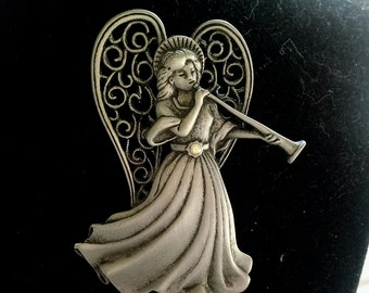 Angel Brooch Pin Signed JJ Peweter Vintage Jewelry Jewellery Accessory Gift Guide Women