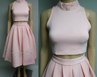 Party Dress | Skirt | Midriff Top | Wedding Dress | Cocktail Dress | Pearls & Clear Beads | Ukulele |