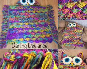 Child Size Psychedelic Hooded Owl Blanket - Crocheted