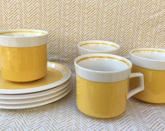 vintage mikasa light n lively cup and saucer set in yellow