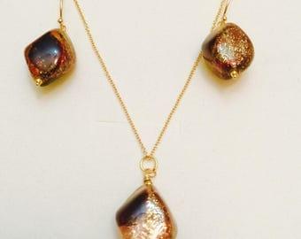 Gold Klimt Inspired Venetian Murano Glass Vermeil GP Sterling Silver Diamond Shape Drop Earrings
