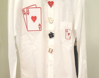 SALE Vegas! NOS. Vintage 1980s Vegas Themed Button Up Shirt. White Broadcloth. Playing Cards. Novelty Button Covers