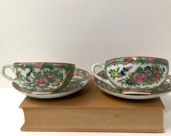 Rose medallion tea cups set of 2 - antique export ware - early 20th traditional Asian design
