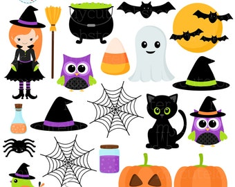 Halloween Clipart Set - clip art set of witch, cat, halloween items, spiders, bats  - personal use, small commercial use, instant download