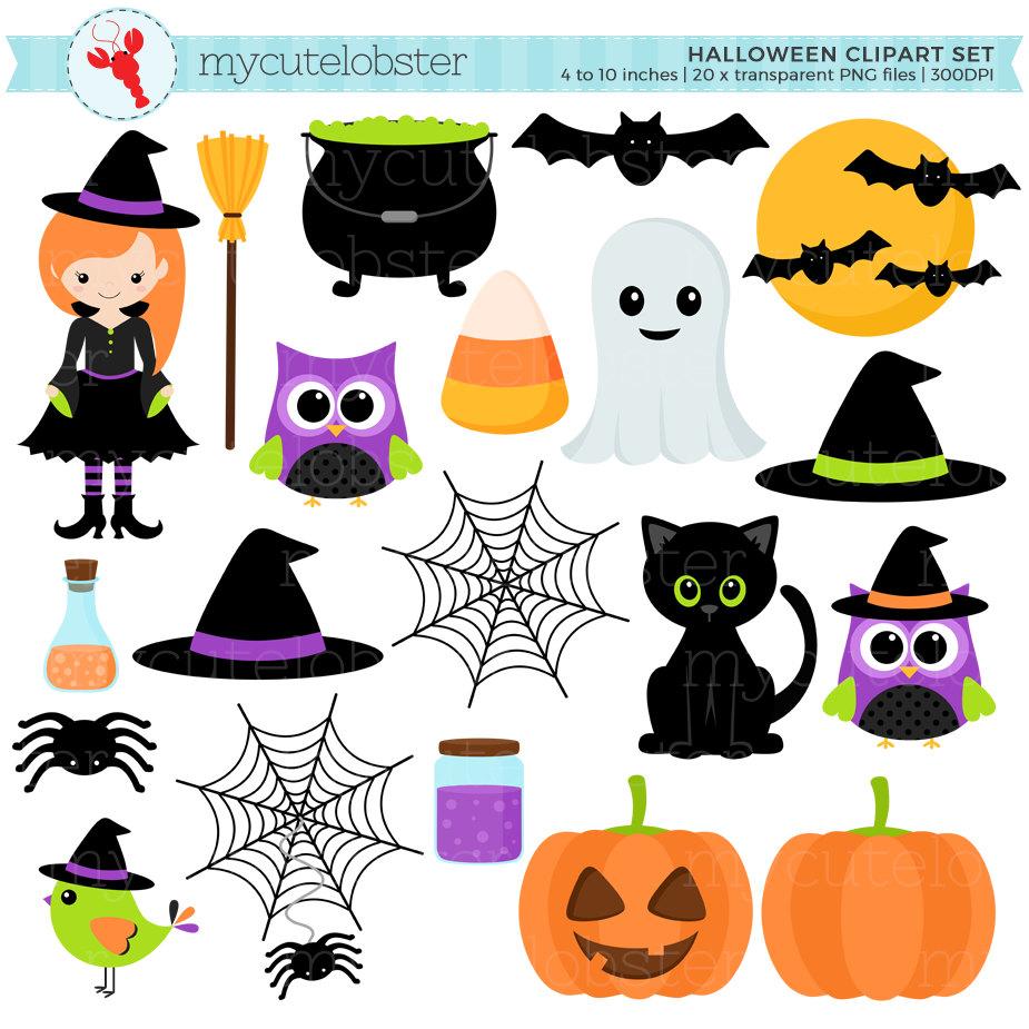 Halloween Clipart Set - clip art set of witch, cat, halloween ...