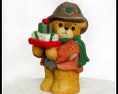 Christmas Bear with Gifts / Enesco / Lucy and Me Collectible Figurine 1986 / Porcelain Holiday Teddy & Xmas Packages / Hat Coat Scarf Holly