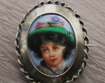 On Sale Antique Hand Painted Porcelain Miniature Brooch Silver Settling Pin Jewelry   SS183