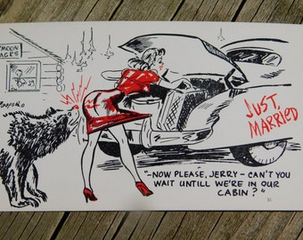 1950's 60's Original Magazine or Greeting Cards Risque Cartoon That Reads Just married