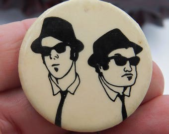 Vintage 1970's Blues Brothers Jake and Elwood Blues Pin Pinback Button   DR9