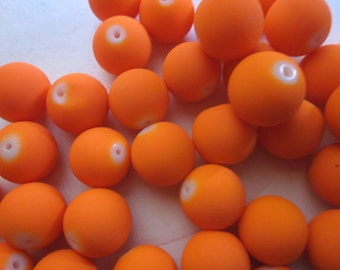 Neon Orange Rubberized Round Glass Beads 16mm 12 Beads