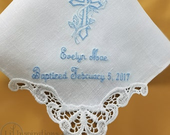 Baptism Gift, Goddaughter Gift, Baptism Gifts for Godchild, Personalized Baby Baptism Gifts Baptism Handkerchief,  by Li'l Inspirations
