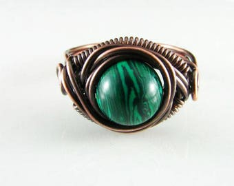 Wire Wrapped Copper Ring Featuring Genuine Malachite Stone Wire Wrap Jewelry