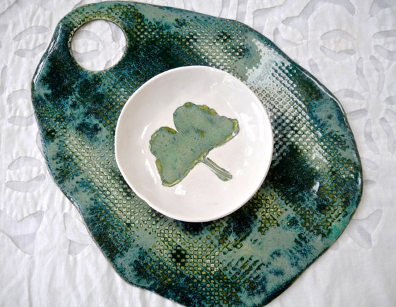 Cheese Board and bowl, Ginkgo dish, teal Green platter, fruit plate, serving platter, cheese platter, snack set, Serving set