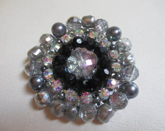 Statement Brooch Handmade Silver Black Gray Beaded Fabulous