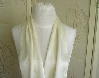 Vintage Scarf with Long Drapey 1930s Shape, White Satin Art Deco Accessory