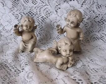 Vintage cherubs, child angels, ceramic antiqued, three angels, trio cherubs, figurine set