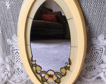 Shabby yellow oval mirror, medium size mirror, elegant farmhouse