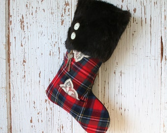 Bold Tartan Plaid CHRISTMAS STOCKING, with Fur Cuff, Vintage Keys
