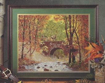 "Elsa Williams Needlepoint Kit Autumn Bridge Heritage Collection 06010 Finished Size 20"" x 16"" Designed by Chris Cummings"
