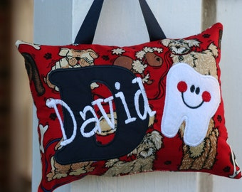 Tooth Fairy Pillow Personalized Dogs Puppies Tooth Chart Christmas Gift Keepsake Birthday Gift Kids