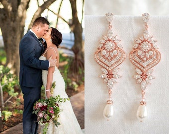 Rose Gold Bridal Earrings, Wedding Earrings, Long Statement Earrings, Crystal Bridal Jewelry, Swarovski Pearl Chandelier Earrings, EZMAE
