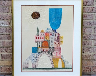 "Vintage Mixed Media Artist's Proof Print titled ""The City of Haiffa"" by Artist Elji D - VERY COOL!!"