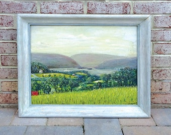 Vintage 1960's Impressionist Landscape Oil Painting of Susquehanna River signed by J. Fitzpatrick - Beautiful!!