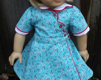 1930s Feedsack Birthday Dress for Kit, Ruthie, American Girl, My Twinn, 18 inch dolls