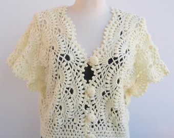 Cream Crochet wedding bolero,Lace Top, Lace Wedding Top, garden wedding, Bridal cover up, Wedding bolero, bridal shrug, Wedding dress topper