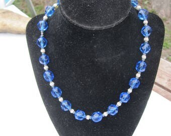 Vintage Blue Faceted Glass Bead necklace with Beaded Crochet Accent Beads Hand Knotted
