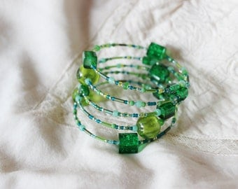 Fresh green memory wrap bracelet, Light green beaded bracelet, Memory beaded bracelet, Spring green beaded cuff, St. Patrick's day bracelet