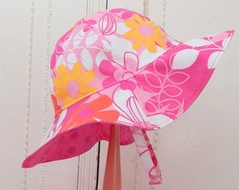 Toddler Sun Hat, 2T to 3 years Girl Sun Hat, Reversible Sun Hat