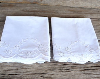 Vintage White Cotton Pillowcases with Floral Eyelet Decoration Cottage Chic Farmhouse Bedroom Decor