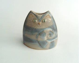 Cat Vase Unusual Handmade Pottery Vessel grey stripe, gift for cat lovers