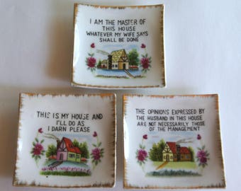 Vintage Motto Plaques, Funny Wall Art, House Rules Signs, Kitschy Wall Decor, Gag Gift, Japan Ceramic