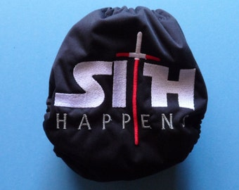 "SassyCloth one size pocket diaper with ""Sith happens"" embroidery on PUL. Made to order."
