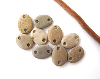 Beads Rock Mediterranean Beach Stone Pebble Jewelry Beads River Rock Connectors Small EARTHY LINKS 14-16 mm