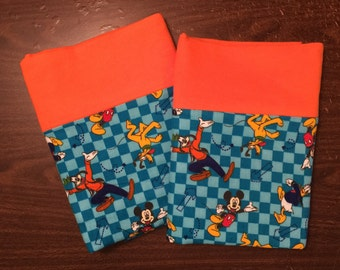 Disney pillow case set made with100% cotton flannel Standard size available orange cuff