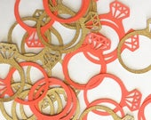 Wedding - Bridal - Party Decorations - Bridal Shower Rings - Party Food -  Wedding Ring - Shower - Gold Glitter - Set of 24 - Donut Toppers