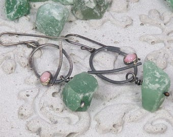 Silver earrings with rough aventurine and pink opals